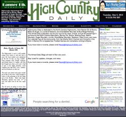 Highcountry Daily Blog